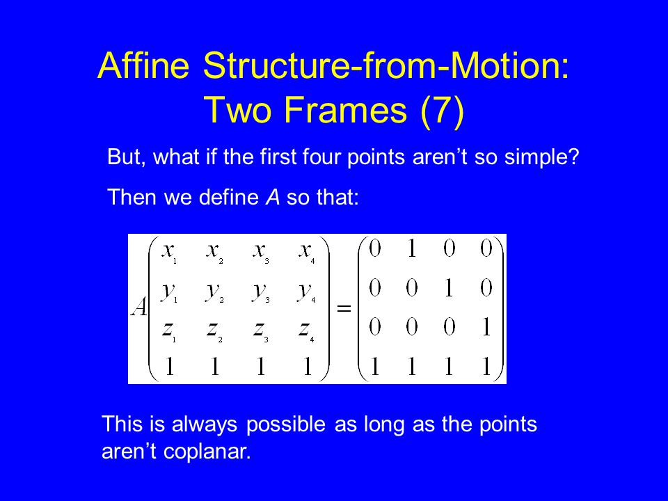 Affine Structure-from-Motion: Two Frames (7) But, what if the first four points aren't so simple.