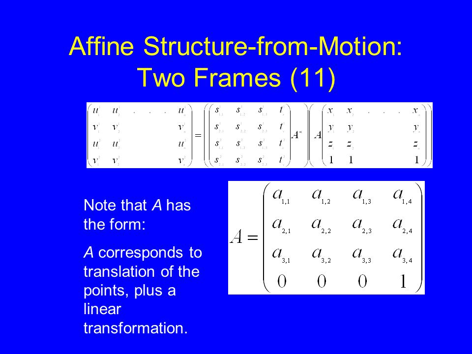 Affine Structure-from-Motion: Two Frames (11) Note that A has the form: A corresponds to translation of the points, plus a linear transformation.