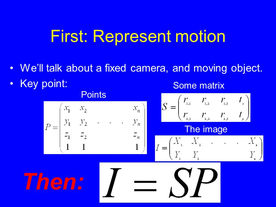 First: Represent motion We'll talk about a fixed camera, and moving object.