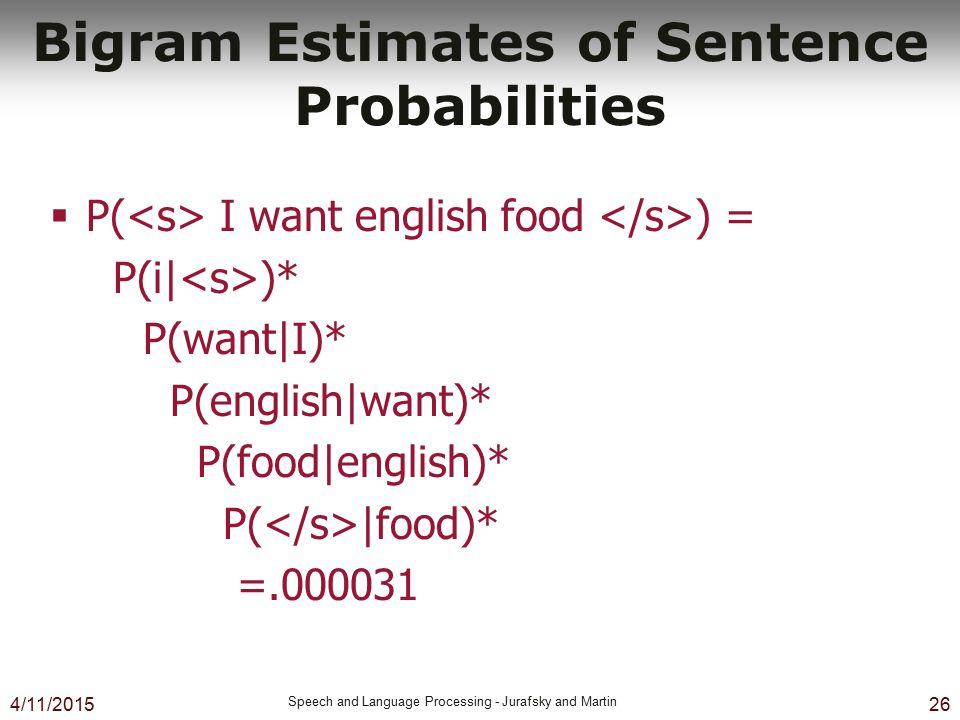 4/11/2015 Speech and Language Processing - Jurafsky and Martin 26 Bigram Estimates of Sentence Probabilities  P( I want english food ) = P(i| )* P(wa