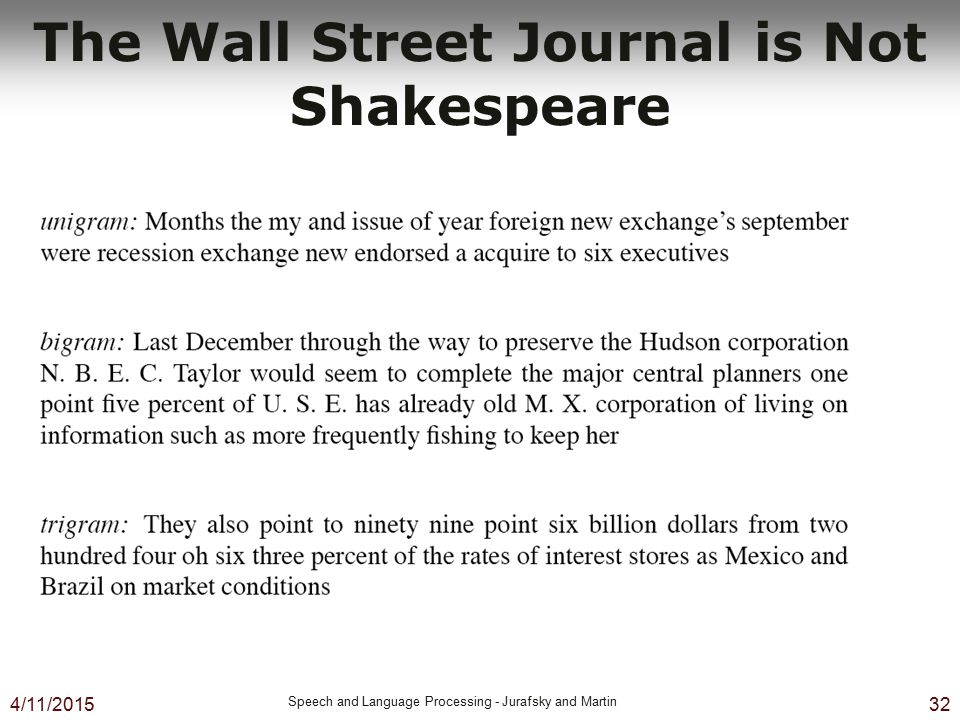 4/11/2015 Speech and Language Processing - Jurafsky and Martin 32 The Wall Street Journal is Not Shakespeare