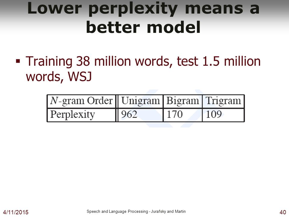 4/11/2015 Speech and Language Processing - Jurafsky and Martin 40 Lower perplexity means a better model  Training 38 million words, test 1.5 million