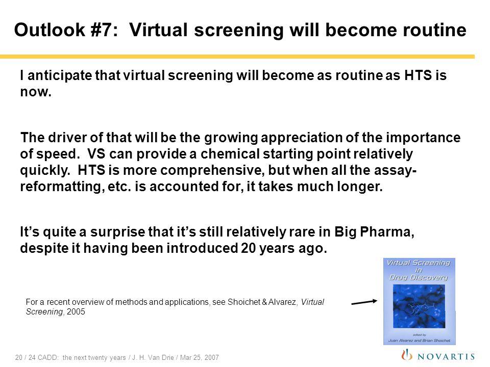 20 / 24 CADD: the next twenty years / J. H. Van Drie / Mar 25, 2007 Outlook #7: Virtual screening will become routine I anticipate that virtual screen
