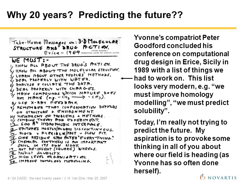 4 / 24 CADD: the next twenty years / J. H. Van Drie / Mar 25, 2007 Yvonne's compatriot Peter Goodford concluded his conference on computational drug d