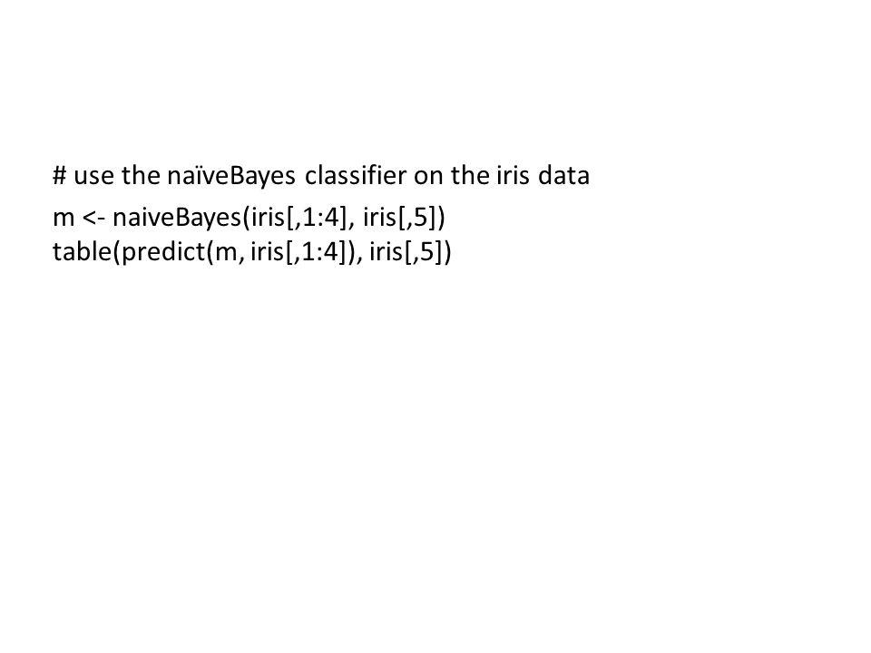 # use the naïveBayes classifier on the iris data m <- naiveBayes(iris[,1:4], iris[,5]) table(predict(m, iris[,1:4]), iris[,5])