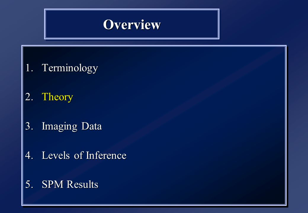 OverviewOverview 1.Terminology 2.Theory 3.Imaging Data 4.Levels of Inference 5.