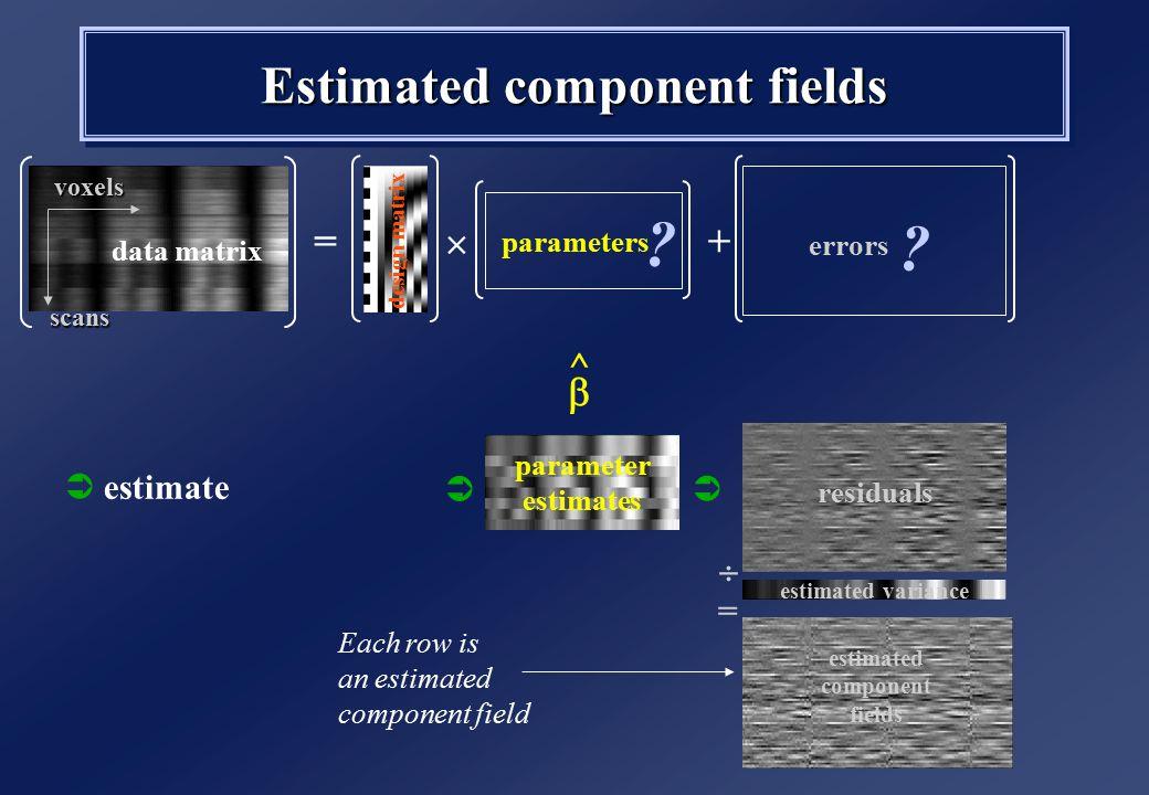 Estimated component fields data matrix design matrix parameters errors + .