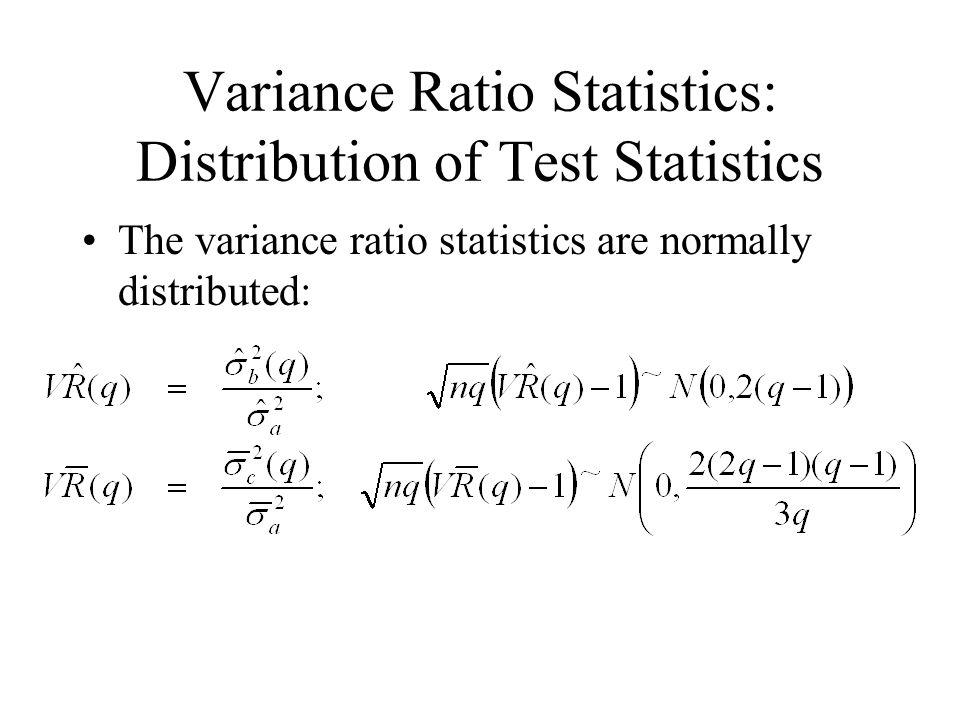 Variance Ratio Statistics: Distribution of Test Statistics The variance ratio statistics are normally distributed: