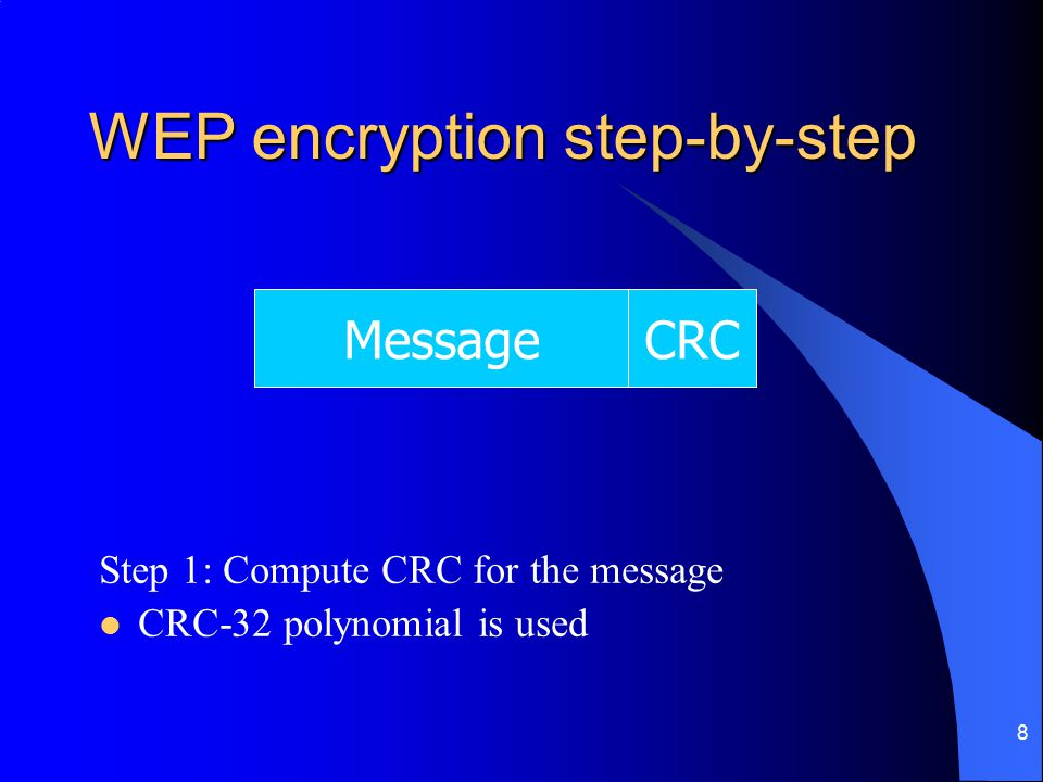 8 WEP encryption step-by-step Step 1: Compute CRC for the message CRC-32 polynomial is used MessageCRC