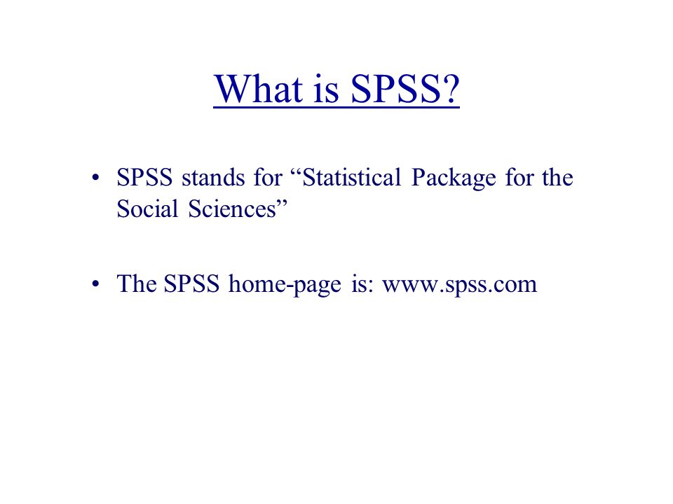 What is SPSS.