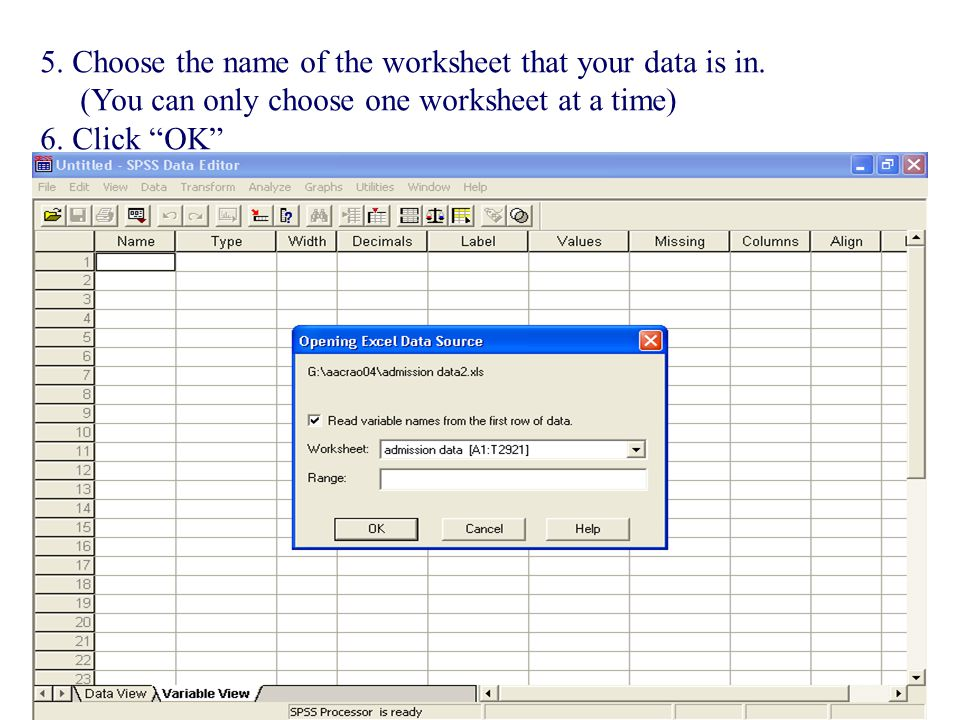 5. Choose the name of the worksheet that your data is in.
