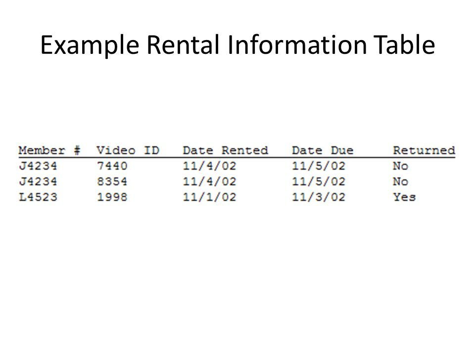 Example Rental Information Table