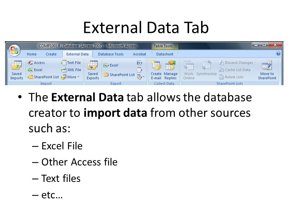 External Data Tab The External Data tab allows the database creator to import data from other sources such as: – Excel File – Other Access file – Text files – etc…
