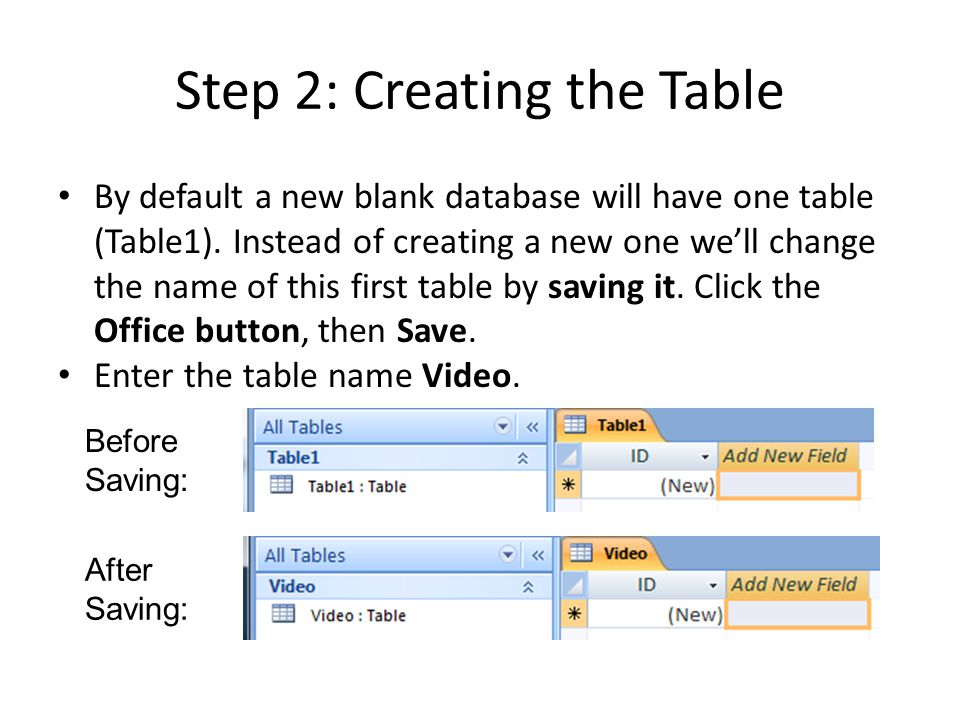 Step 2: Creating the Table By default a new blank database will have one table (Table1).