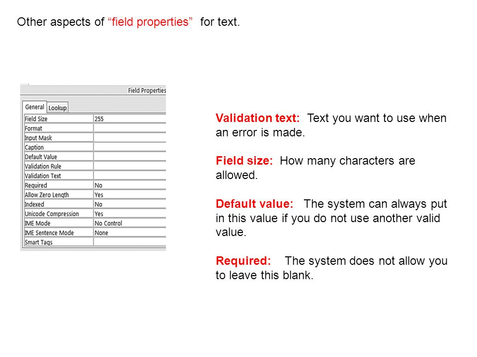 Other aspects of field properties for text.