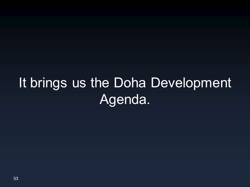 53 It brings us the Doha Development Agenda.