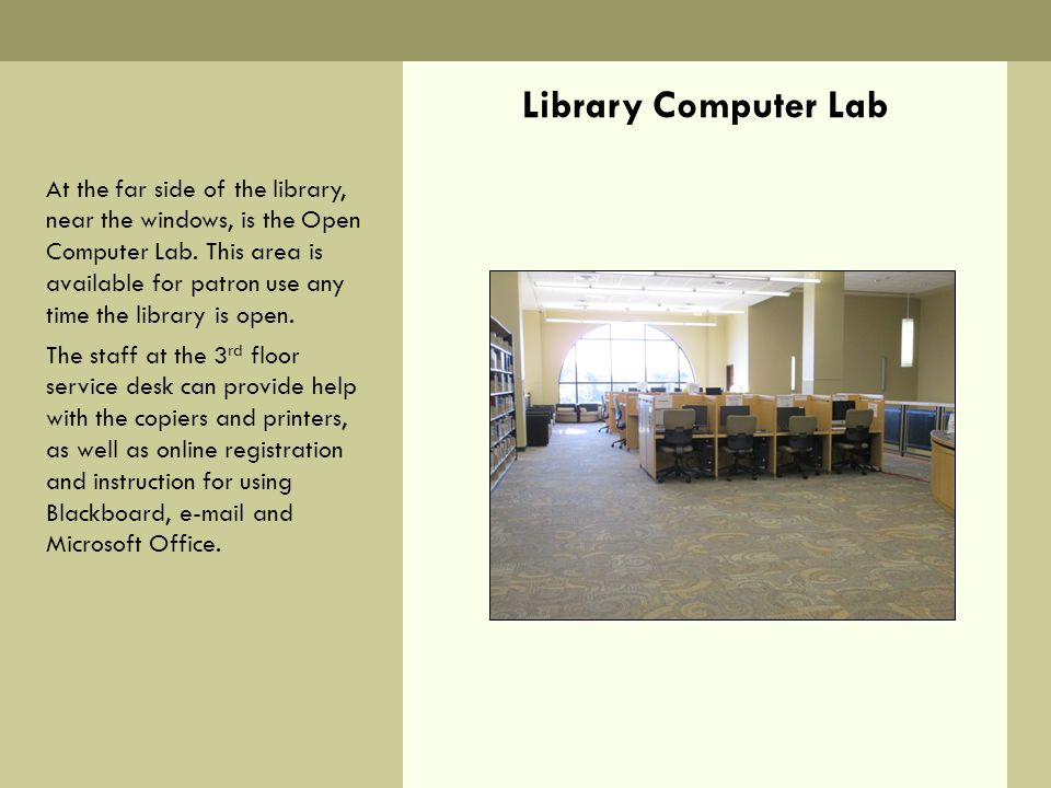 Library Computer Lab At the far side of the library, near the windows, is the Open Computer Lab.