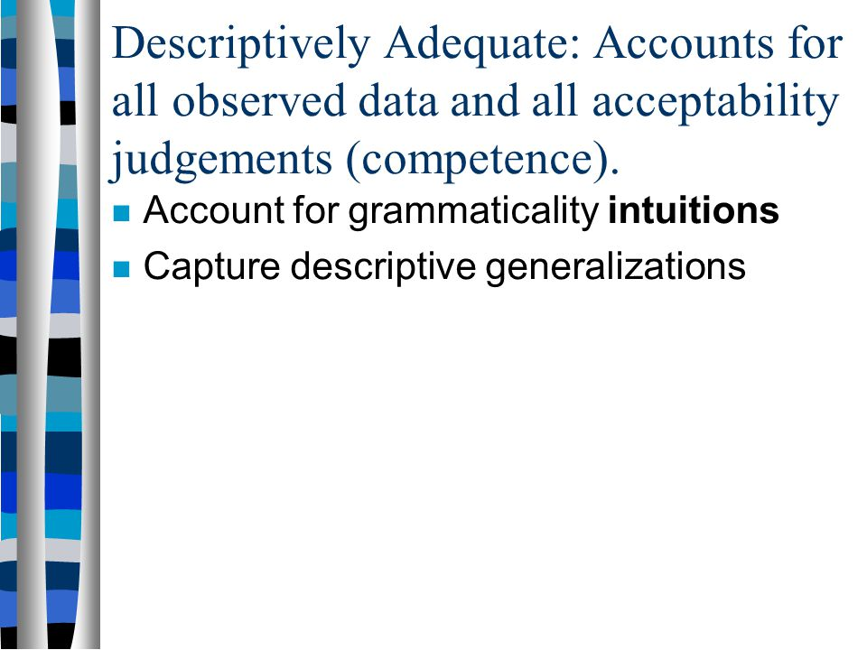 Observationally Adequate Grammar: A grammar that accounts for all the observed corpus data. All and only the sentences in the data –Allow only sentenc
