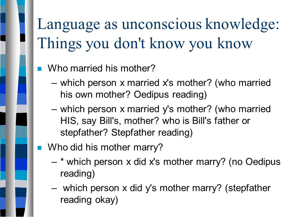 Language as unconscious knowledge You know things about your language that you've never been taught: Who(m) did you think Shawn hit ? Who(m) did you t