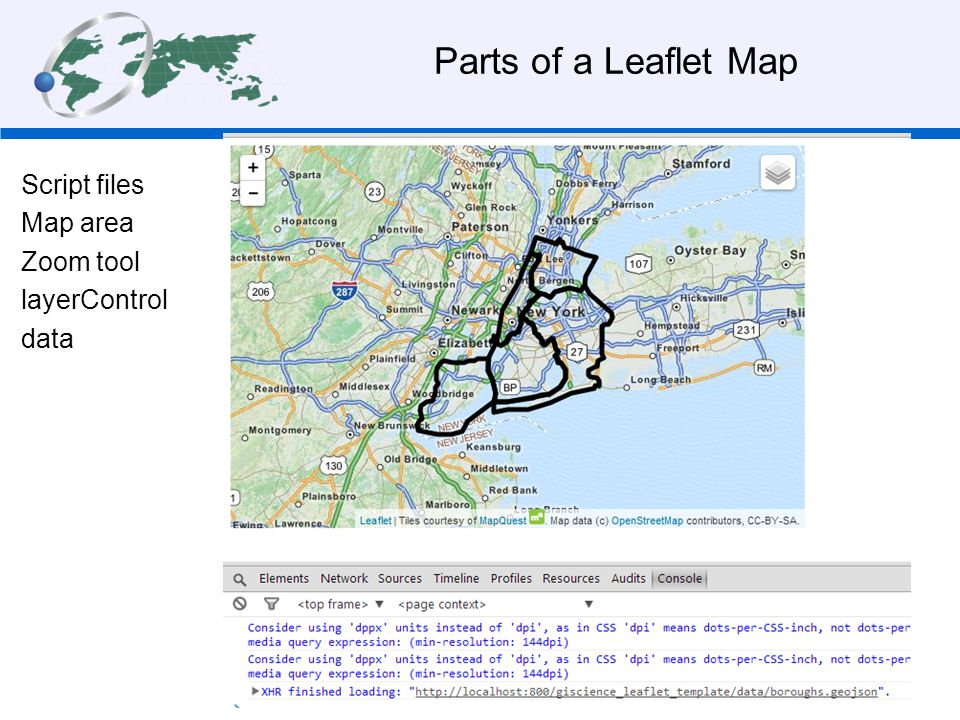 Parts of a Leaflet Map Script files Map area Zoom tool layerControl data