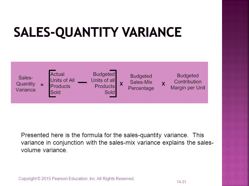 Copyright © 2015 Pearson Education, Inc. All Rights Reserved. 14-31 Presented here is the formula for the sales-quantity variance. This variance in co