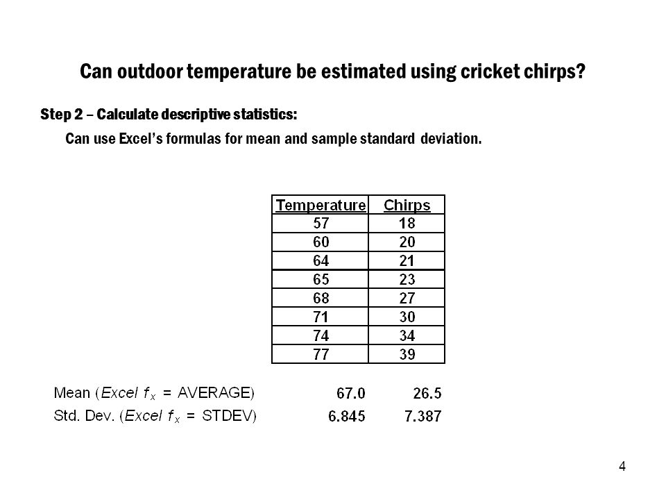 4 Can outdoor temperature be estimated using cricket chirps? Step 2 – Calculate descriptive statistics: Can use Excel's formulas for mean and sample s