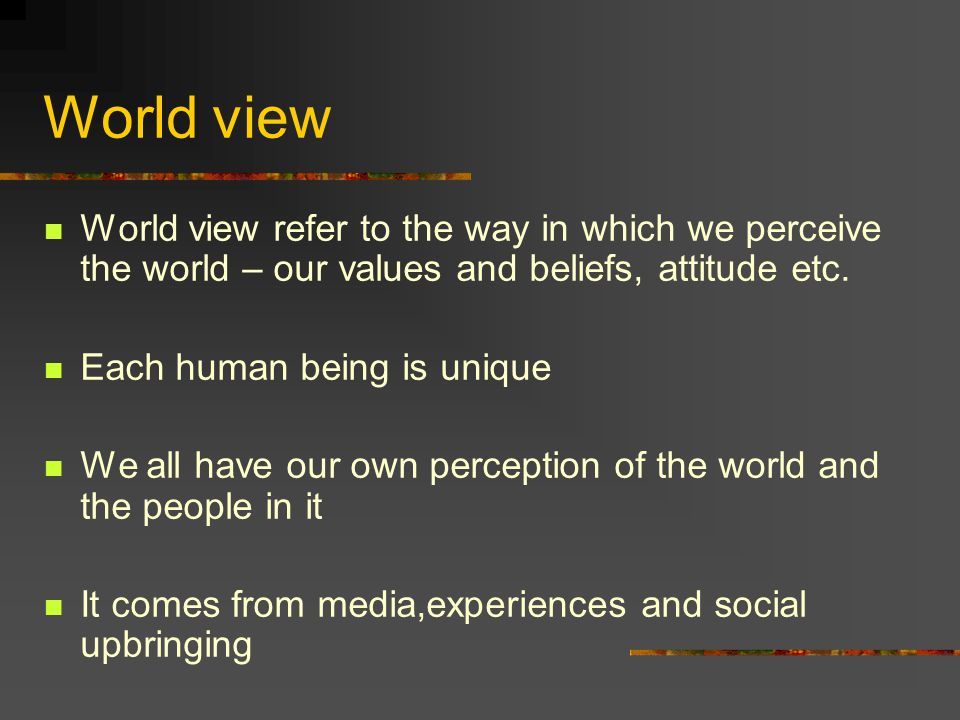 World view World view refer to the way in which we perceive the world – our values and beliefs, attitude etc. Each human being is unique We all have o