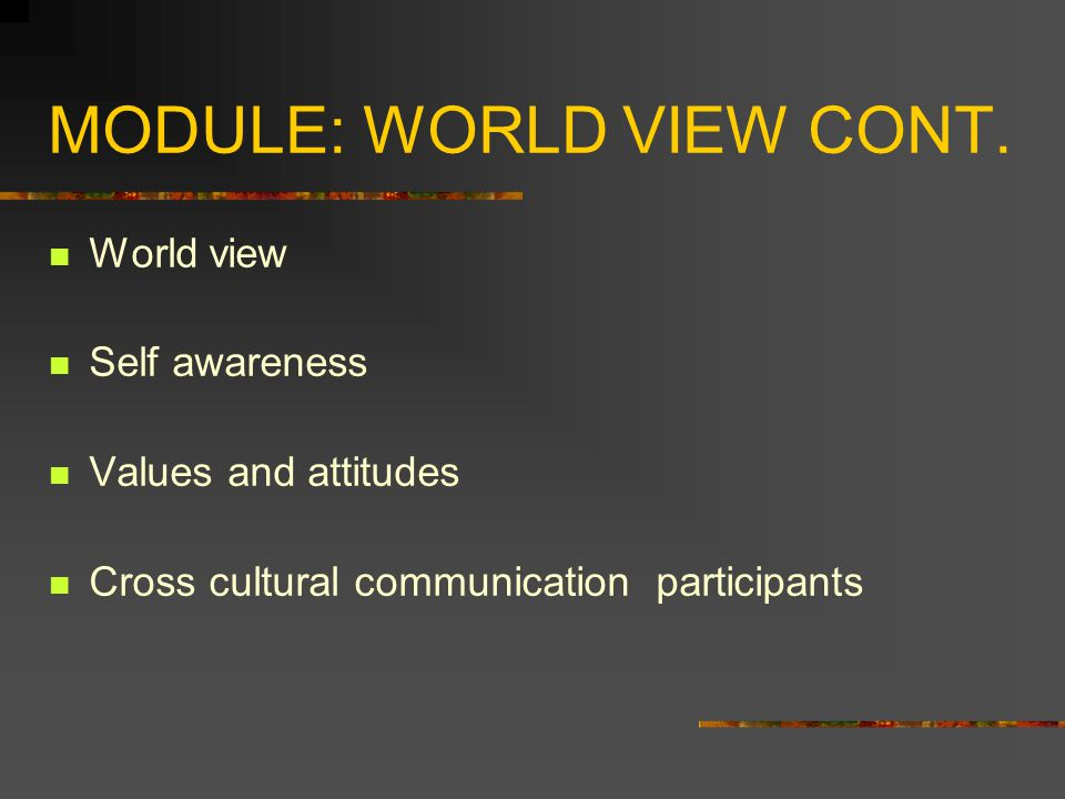 MODULE: WORLD VIEW CONT.