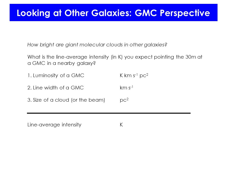 Looking at Other Galaxies: GMC Perspective How bright are giant molecular clouds in other galaxies.