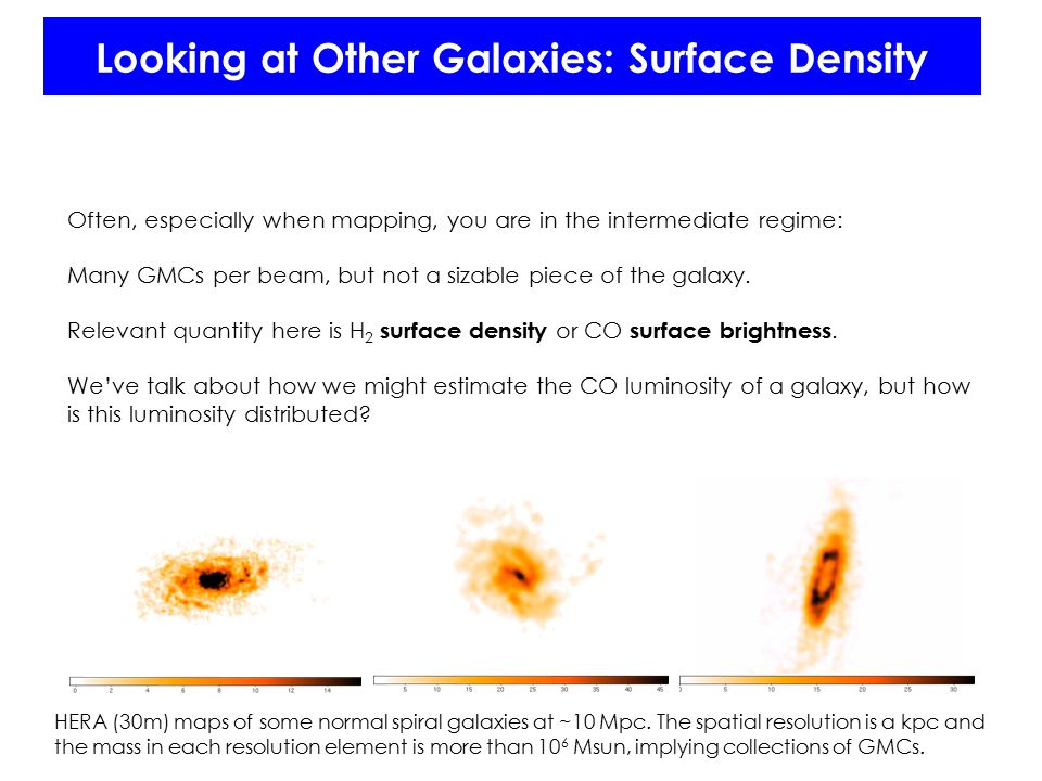 Looking at Other Galaxies: Surface Density Often, especially when mapping, you are in the intermediate regime: Many GMCs per beam, but not a sizable piece of the galaxy.