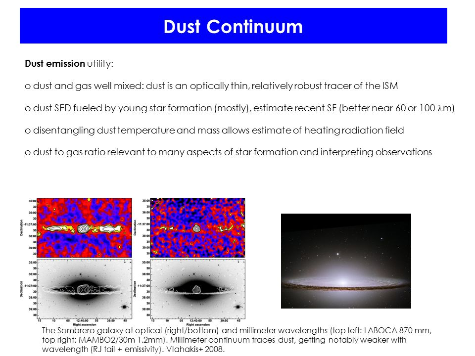 Dust Continuum Dust emission utility: o dust and gas well mixed: dust is an optically thin, relatively robust tracer of the ISM o dust SED fueled by y