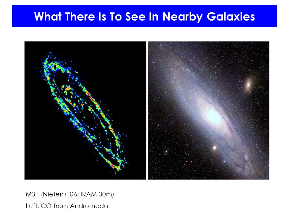 What There Is To See In Nearby Galaxies M31 (Nieten+ 06; IRAM 30m) Left: CO from Andromeda