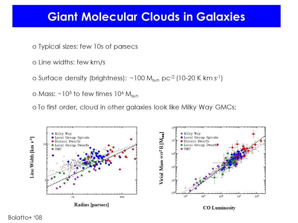 Giant Molecular Clouds in Galaxies o Typical sizes: few 10s of parsecs o Line widths: few km/s o Surface density (brightness): ~100 M sun pc -2 (10-20