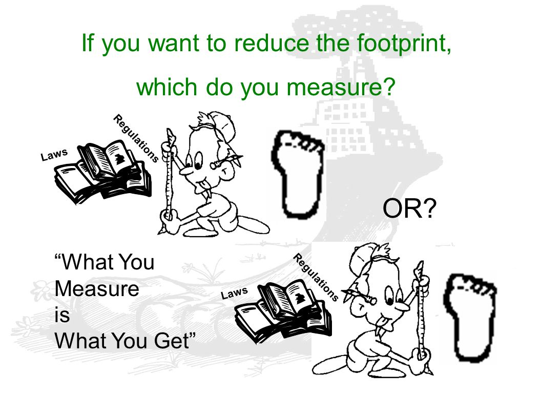 "OR? If you want to reduce the footprint, which do you measure? Laws Regulations ""What You Measure is What You Get"""
