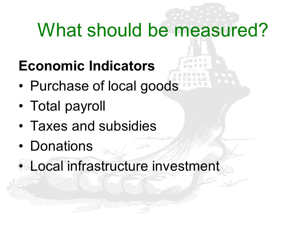 What should be measured? Economic Indicators Purchase of local goods Total payroll Taxes and subsidies Donations Local infrastructure investment