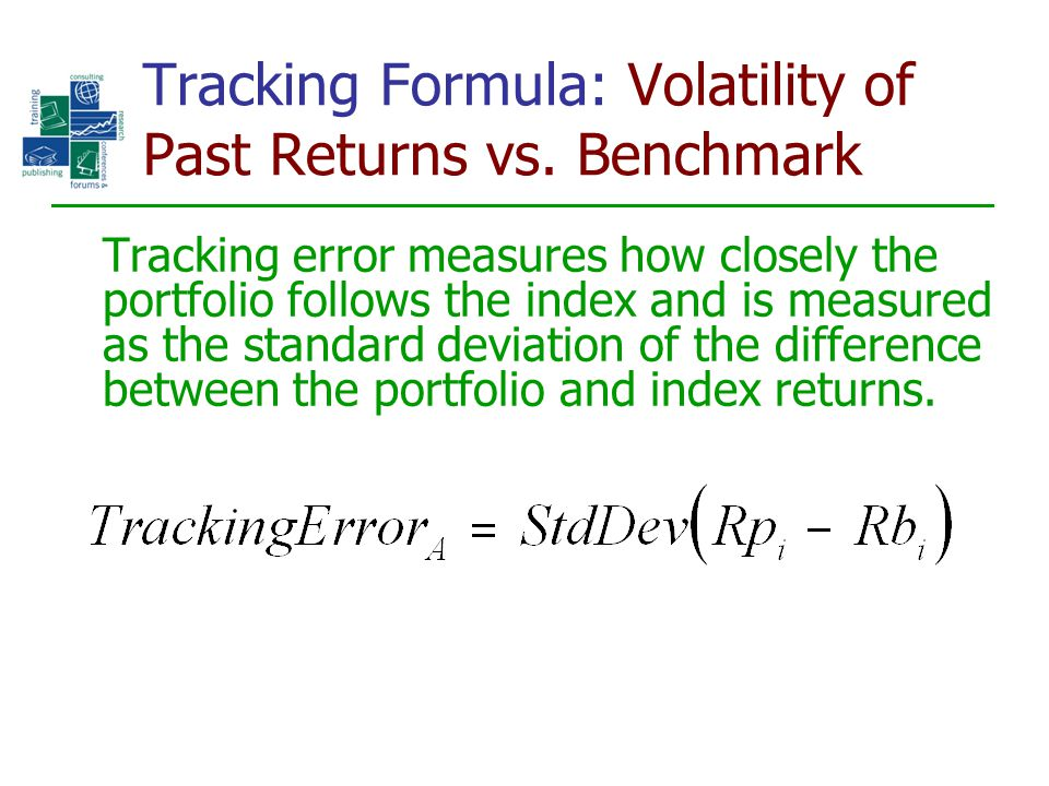 Tracking Formula: Volatility of Past Returns vs. Benchmark Tracking error measures how closely the portfolio follows the index and is measured as the