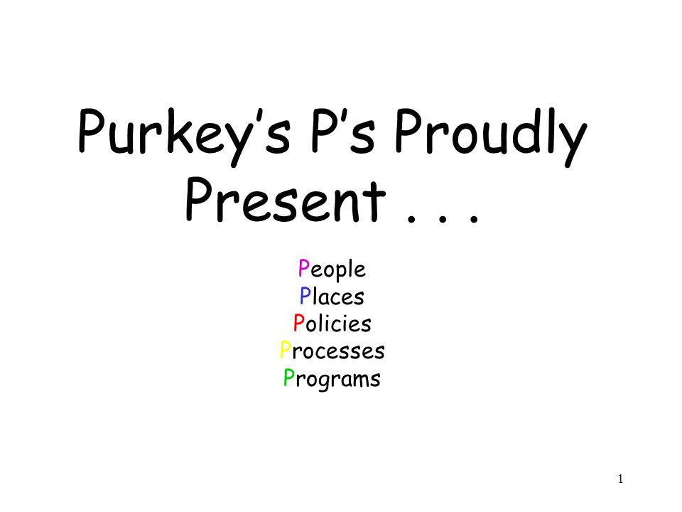 1 Purkey's P's Proudly Present... People Places Policies Processes Programs