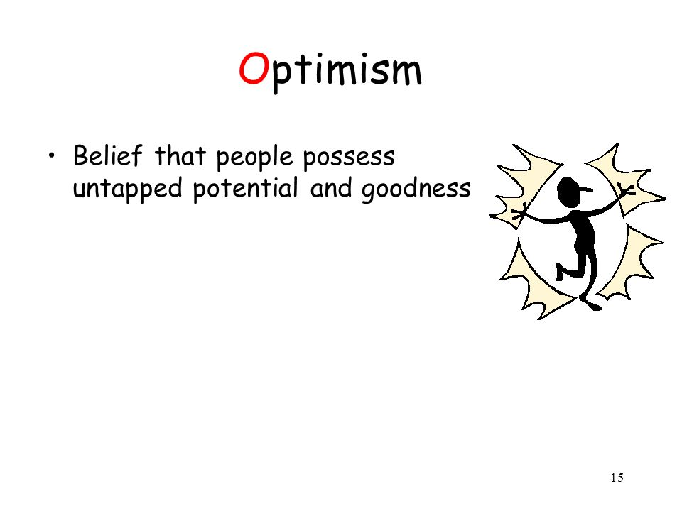 15 Optimism Belief that people possess untapped potential and goodness
