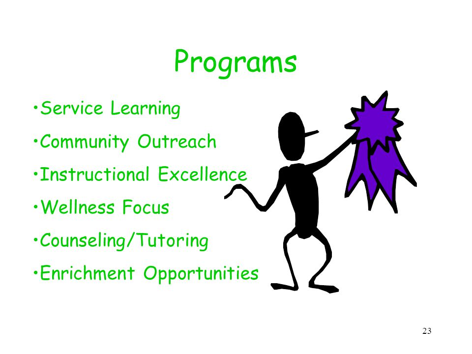 23 Programs Service Learning Community Outreach Instructional Excellence Wellness Focus Counseling/Tutoring Enrichment Opportunities