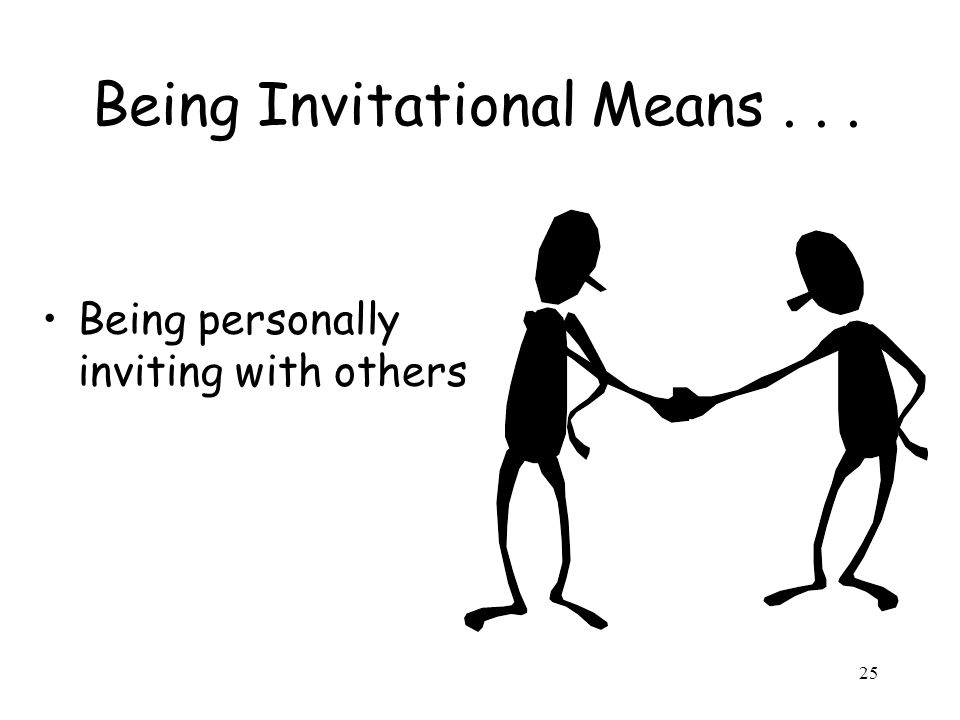 25 Being Invitational Means... Being personally inviting with others