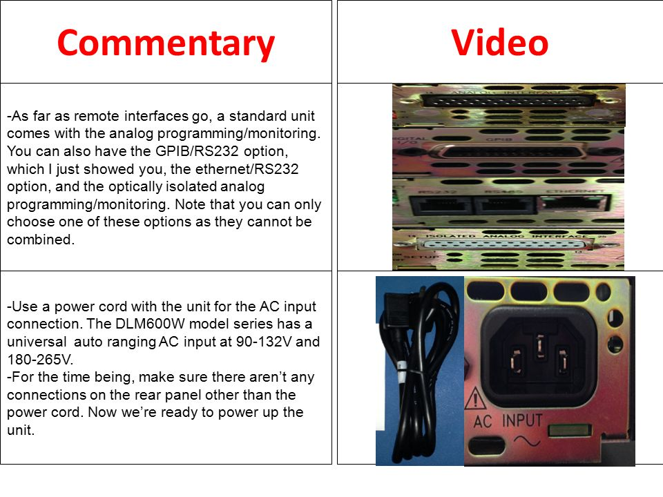 CommentaryVideo -The front panel control consists of the Power On/Off button.