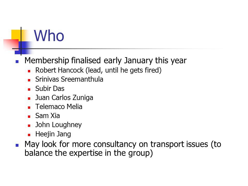 Who Membership finalised early January this year Robert Hancock (lead, until he gets fired) Srinivas Sreemanthula Subir Das Juan Carlos Zuniga Telemac