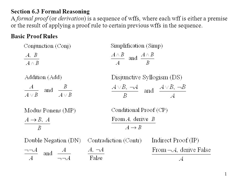 2 Proof Notation Put each wff on a numbered line along with a reason.