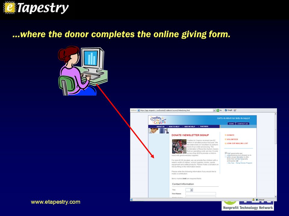 www.etapestry.com …where the donor completes the online giving form.
