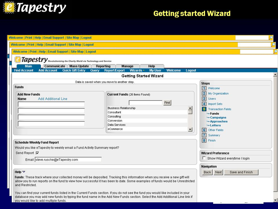 Getting started Wizard