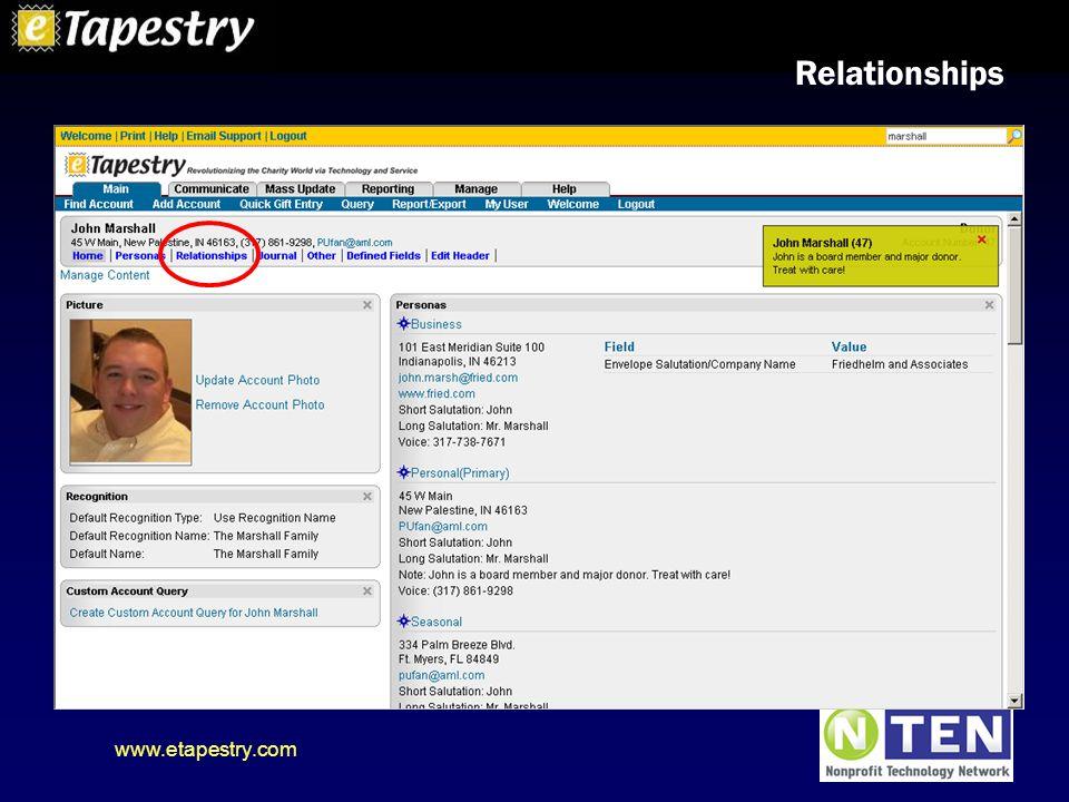 www.etapestry.com Relationships