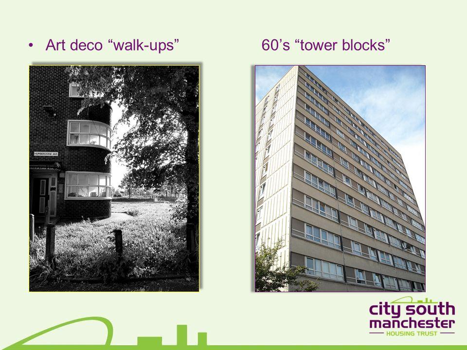 Art deco walk-ups 60's tower blocks