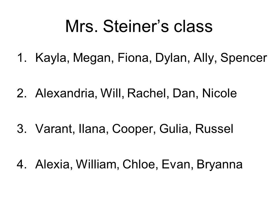 Mrs. Steiner's class 1.Kayla, Megan, Fiona, Dylan, Ally, Spencer 2.Alexandria, Will, Rachel, Dan, Nicole 3.Varant, Ilana, Cooper, Gulia, Russel 4.Alex