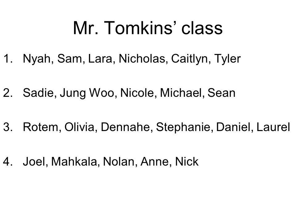 Mr. Tomkins' class 1.Nyah, Sam, Lara, Nicholas, Caitlyn, Tyler 2.Sadie, Jung Woo, Nicole, Michael, Sean 3.Rotem, Olivia, Dennahe, Stephanie, Daniel, L