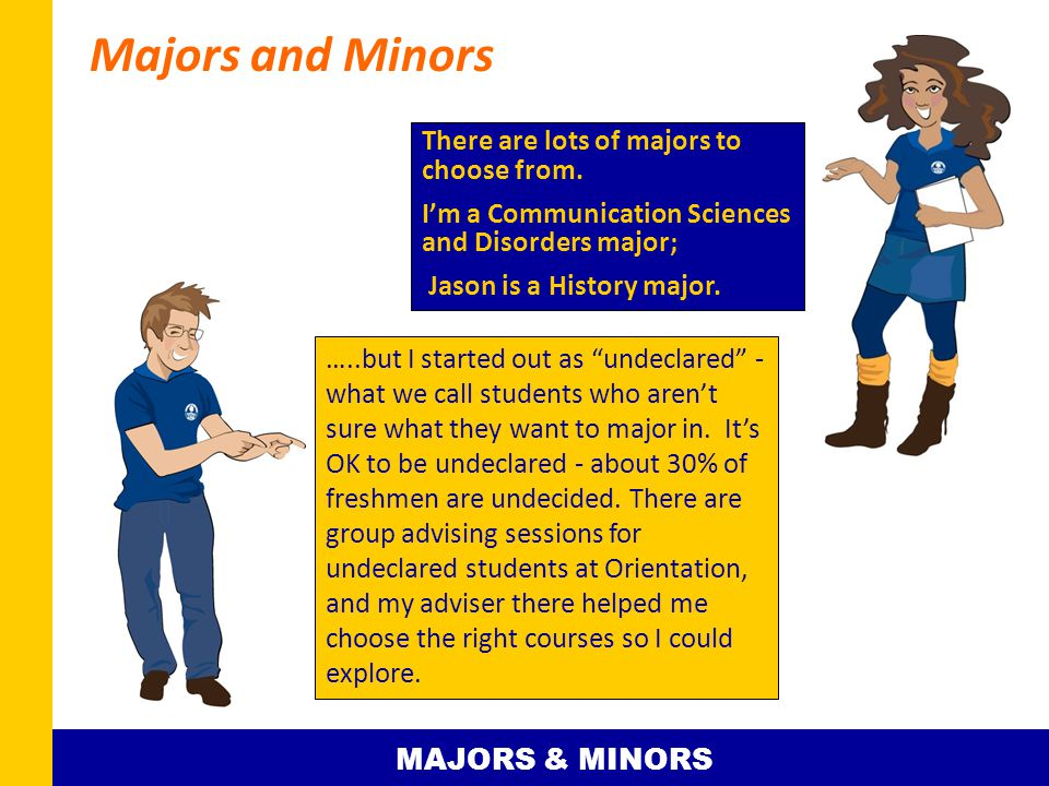Majors and Minors …..but I started out as undeclared - what we call students who aren't sure what they want to major in.